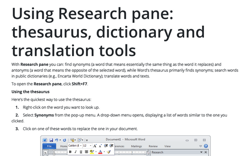Using Research pane: thesaurus, dictionary and translation tools