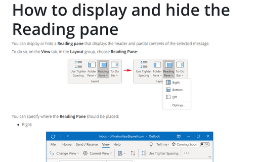 How to display and hide the Reading pane