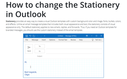 How to change the Stationery in Outlook