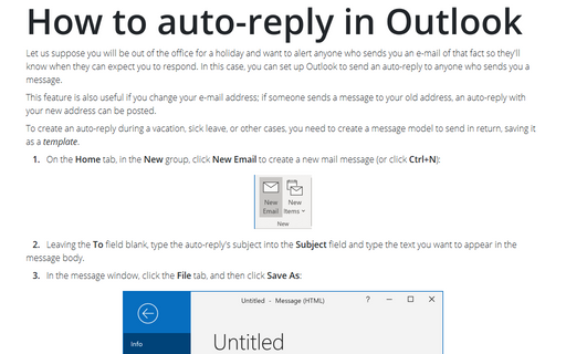Creating an AutoReply