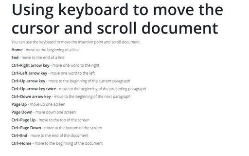 Using keyboard to move the cursor and scroll document