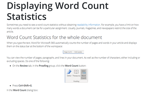 Displaying Word Count Statistics
