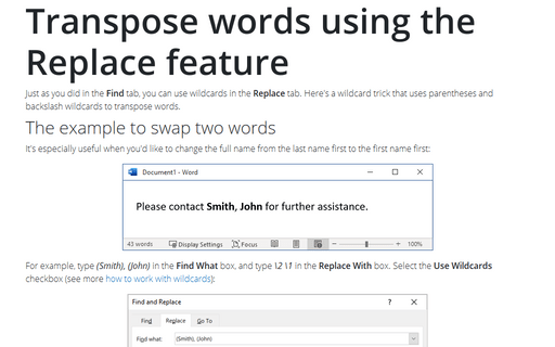 Transpose words using the Replace feature