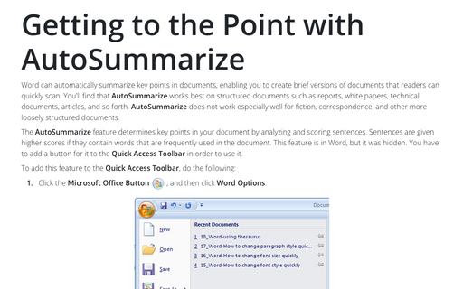 Getting to the Point with AutoSummarize
