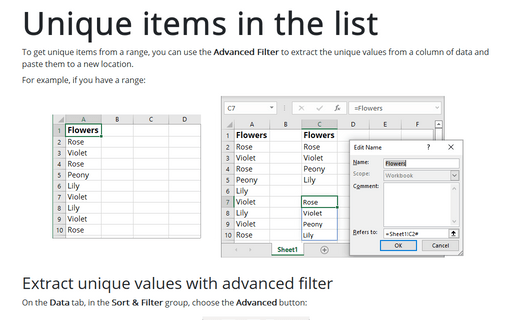 Returning a list of unique items in a range by using a filter