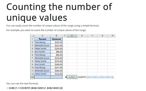 Counting the number of unique values