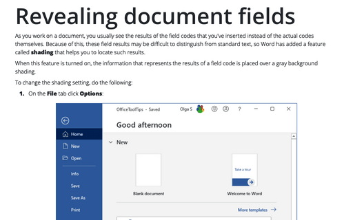 Revealing document fields