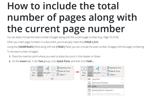 How to include the total number of pages along with the current page number