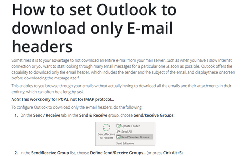 How to set Outlook to download only E-mail headers