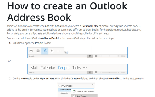 How to create an Outlook Address Book