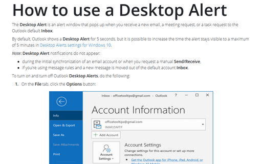 How to use a Desktop Alert