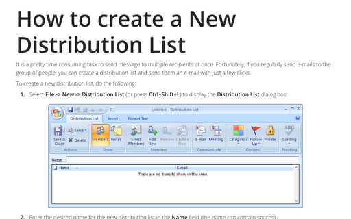 How to create a New Distribution List