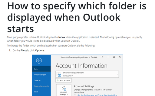 How to specify which folder is displayed when Outlook starts