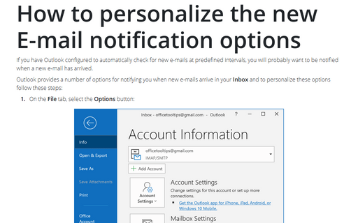 How to personalize the new E-mail notification options