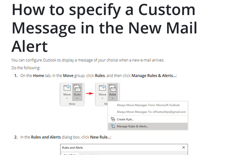How to specify a Custom Message in the New Mail Alert