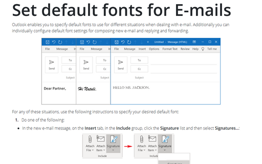 Set default fonts for E-mails