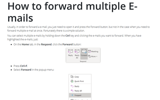 How to forward multiple E-mails