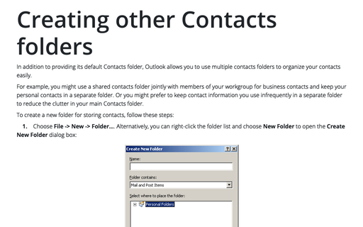 Creating other Contacts folders