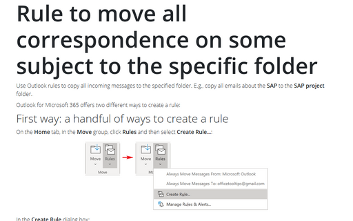 Rule to move all correspondence on some subject to the specific folder