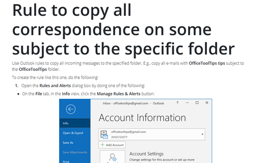 Rule to copy all correspondence on some subject to the specific folder