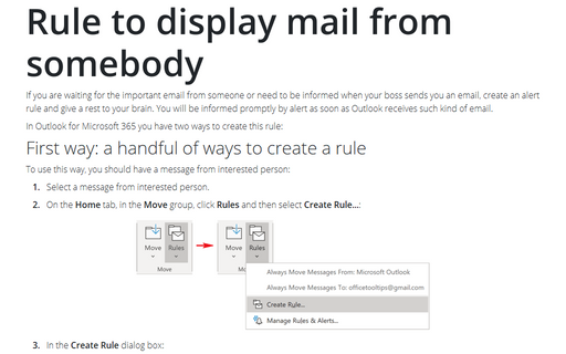 Rule to display mail from somebody