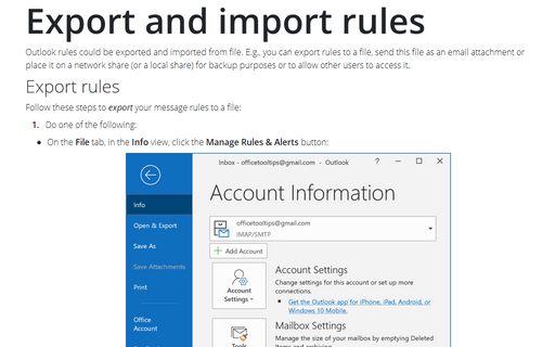 Export and import rules