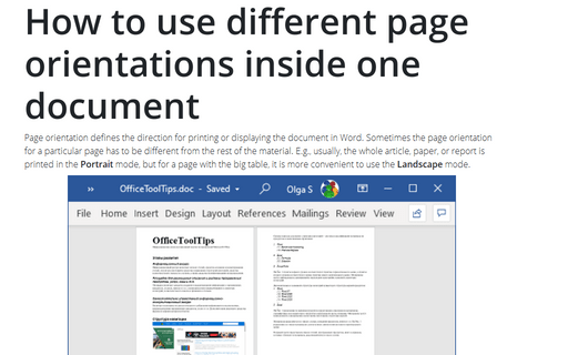 How to use different page orientations inside one document