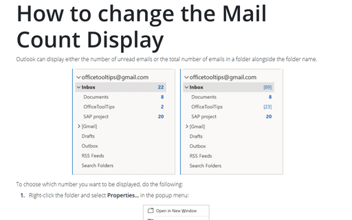 How to change the Mail Count Display