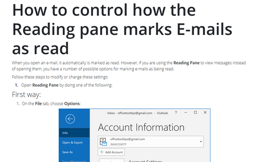 How to control how the Reading pane marks E-mails as read