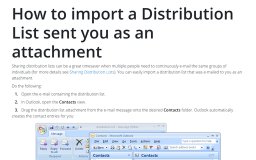 How to import a Distribution List sent you as an attachment
