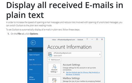 Display all received E-mails in plain text