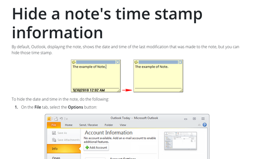Hide a note's time stamp information