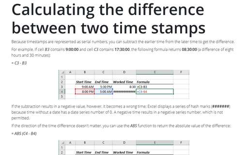 Calculating the difference between two time stamps