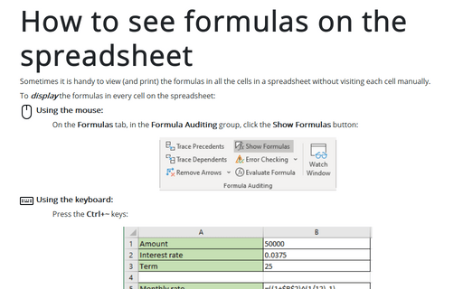 How to see formulas on the spreadsheet