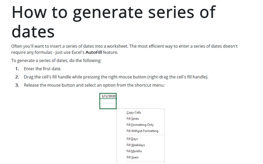 How to generate Series of Dates