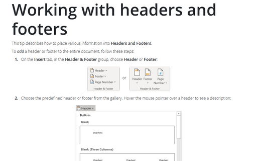 How to create different headers and footers on odd and even