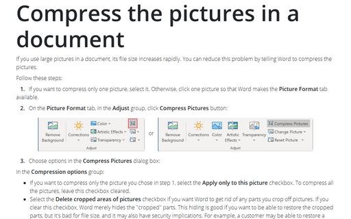 Compress the pictures in a document