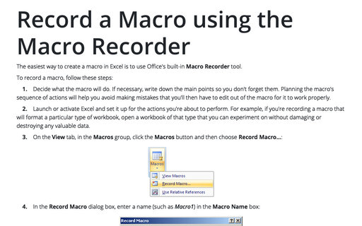 Record a Macro using the Macro Recorder
