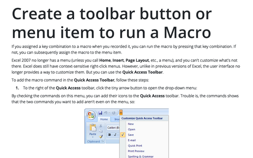 Create a toolbar button or menu item to run a Macro