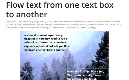 Flow text from one text box to another