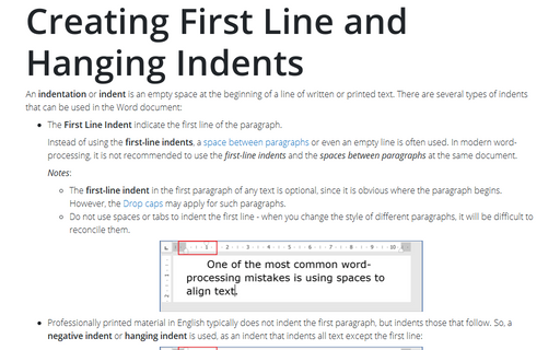 Creating First Line and Hanging Indents