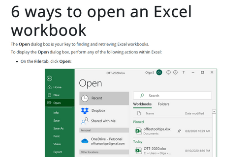 6 ways to open an Excel workbook