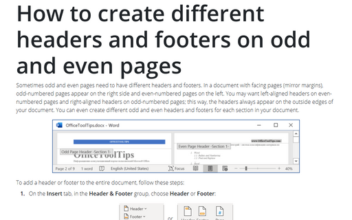 How to create different headers and footers on odd and even pages