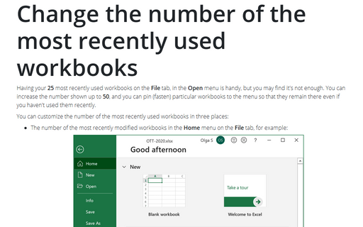 Change the number of the most recently used workbooks