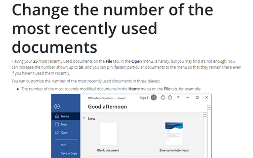 Change the number of the most recently used documents