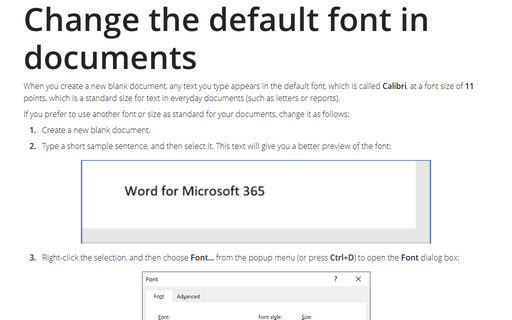 Change the default font in Documents