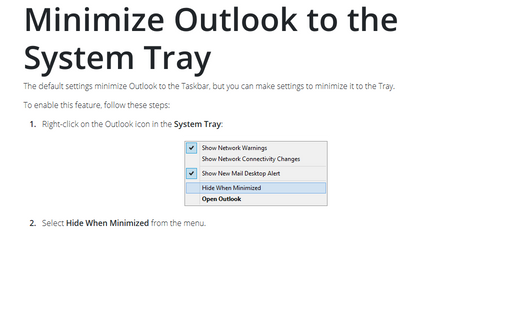 Minimize Outlook to the System Tray