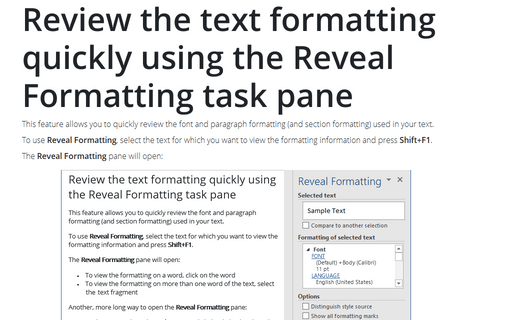 Review the text formatting quickly using the Reveal Formatting task pane