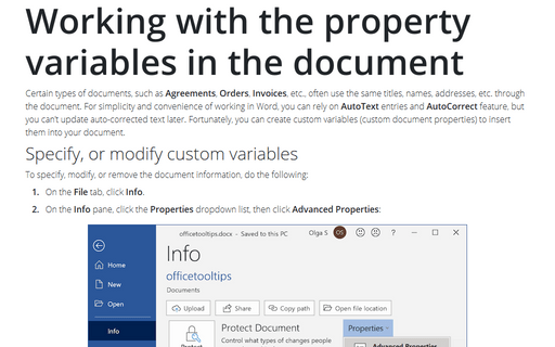 Working with the property variables in the document