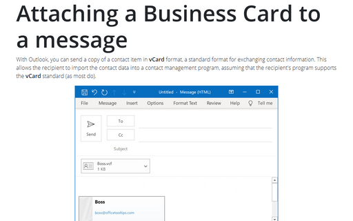Attaching a Business Card to a message